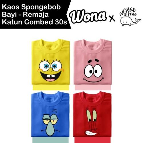 Foto Produk Baju Kaos Spongebob Dkk Naked & Free Untuk Bayi-Remaja Bahan Katun 30s - Kuning, 9-12 Bulan dari WONA OFFICIAL