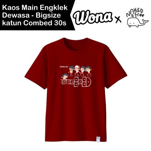Foto Produk Kaos Kemerdekaan N&F Seri Main Engklek Untuk Dewasa-Bigsize Katun 30s - Merah, S Dewasa dari WONA OFFICIAL