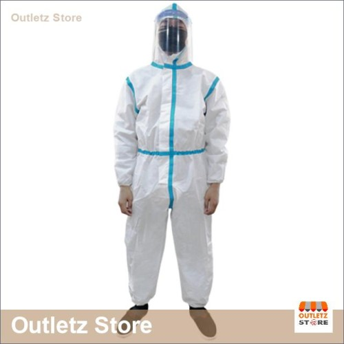 Foto Produk Hazmat Overall APD Strip Biru Muda Waterproof BUMAME FARMASI dari Outletz Store