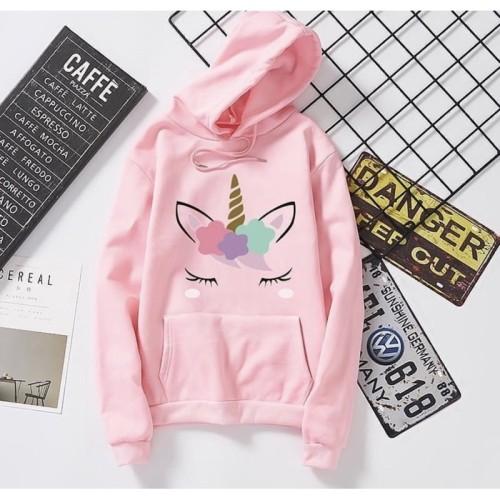 Foto Produk Jaket Sweater Hoodie Anak Perempuan Cewek UNICORN| Baju Sweter Anak SD - Pink, S (3-8 thn) dari ElnasaDnS