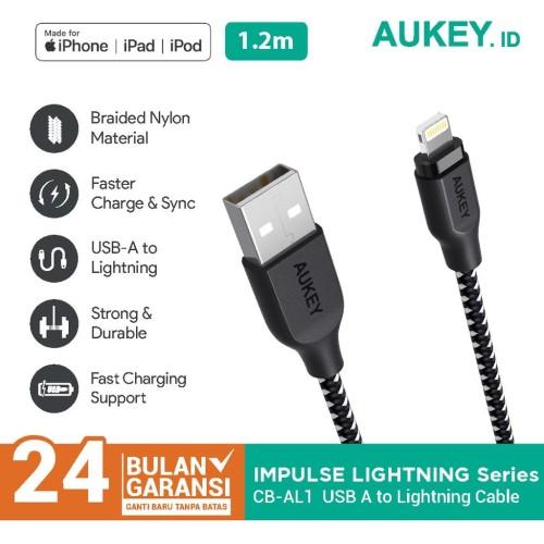 Foto Produk Aukey Cable 1.2M Lightning Braided MFI Apple black - 500210 dari AUKEY