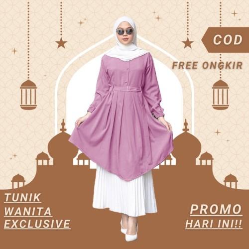 Foto Produk Baju Atasan Tunik Wanita Jumbo Kekinian Remaja Dress Muslim Premium - Ungu dari fatichah shop