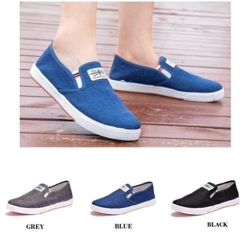 Foto Produk SH26 Sepatu Pria Casual Denim Canvas Shoes Slip On Men Shoes - black, 41 dari Dneo Store