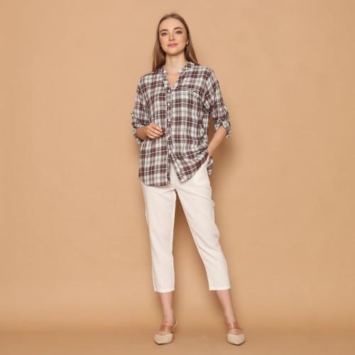 Foto Produk Cammomile 2101032 SF1205 Kemeja wanita lengan panjang kotak - BrownKotak dari Cammomile FashionLine