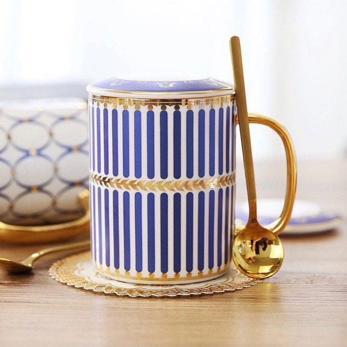 Red Mug Blue Linen