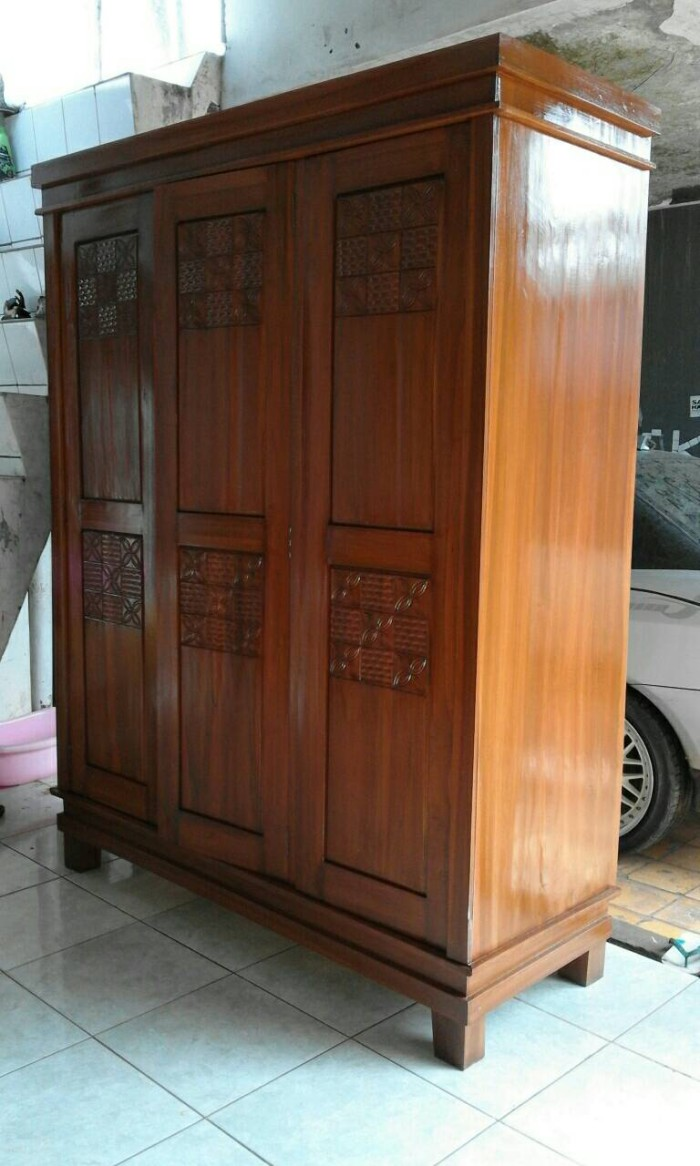 Jual Lemari Jati Pintu 3 Minimalis Lemari Pakaian Jati Jakarta Timur Hidayat Furnitur Tokopedia Harga lemari jati