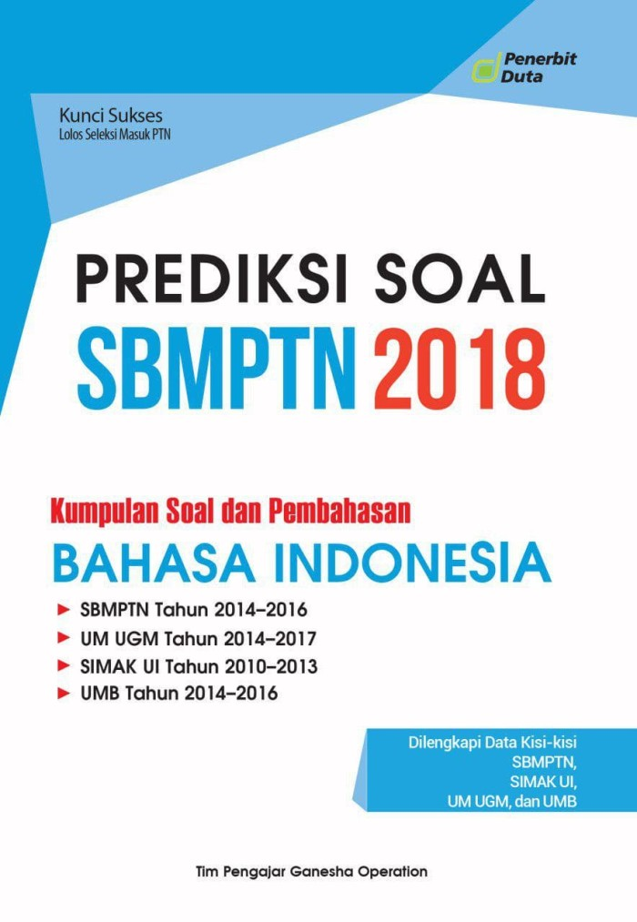 Jual Prediksi Soal Sbmptn 2018 Kumpulan Soal Dan Pembahasan B Indonesia Kota Bandung Pt Penerbit Duta Tokopedia