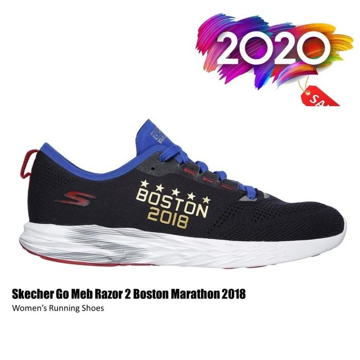 Sepatu Lari Wanita Skechers Go Meb Razer2 Boston Marathon 15040nvy