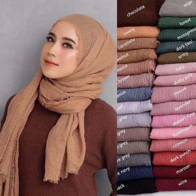Jual Pashmina Crinkle Crimp Cotton Shawl Hijab Pasmina Crinkle Rawis Kusut Mustard Jakarta Selatan Serbamurahid Tokopedia