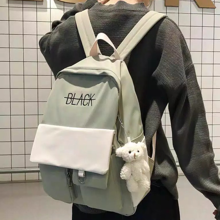 Jual C1 Tas Ransel Sekolah Backpack Murah Import Lucu Tas Korea Aesthetic Hijau Cream Kab Bandung Adelta Tokopedia