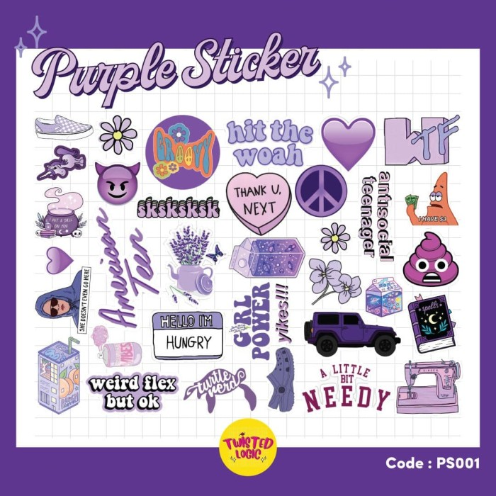 Jual Aesthetic Sticker Tumblr Purple M Kota Tangerang Selatan Twisted Logic Id Tokopedia