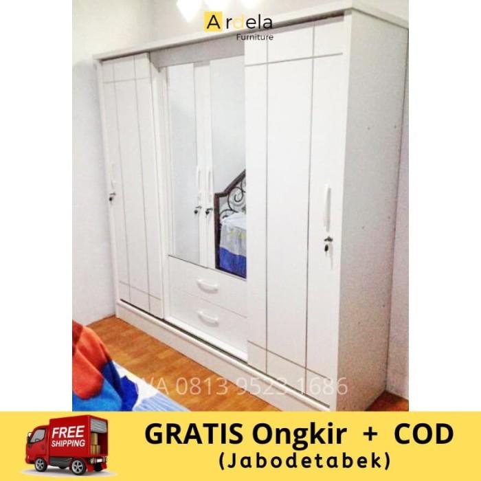 Jual Lemari Pakaian Minimalis Murah 4 Pintu Sliding 2 Pintu Ukuran Besar Kota Bogor Rumah888 Tokopedia