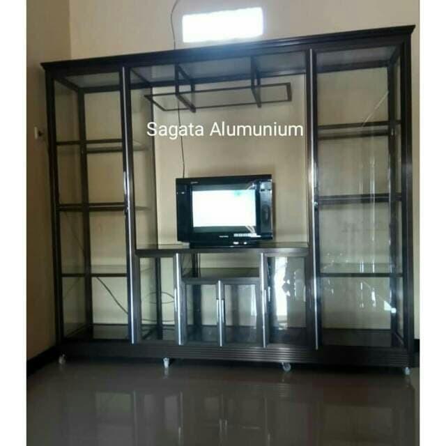 Jual Meja Tv Bufet Tv Lemari Hias Almunium Full Kaca Kab Batang Santy Hasani Tokopedia