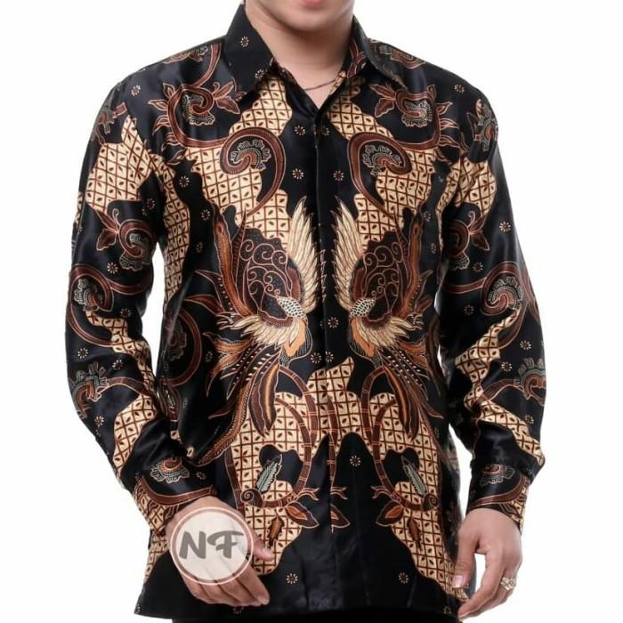 Jual kemaja batik pria lengan panjang kemeja semi sutra silky premium 26 -  Hitam, XXL - Kab. Pekalongan - batikdekill | Tokopedia