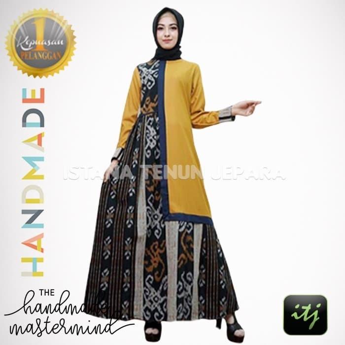 Jual Model Gamis Tenun Troso Baju Dress Muslim Kombinasi Ist01 Kab Jepara Istana Tenun Jepara Tokopedia