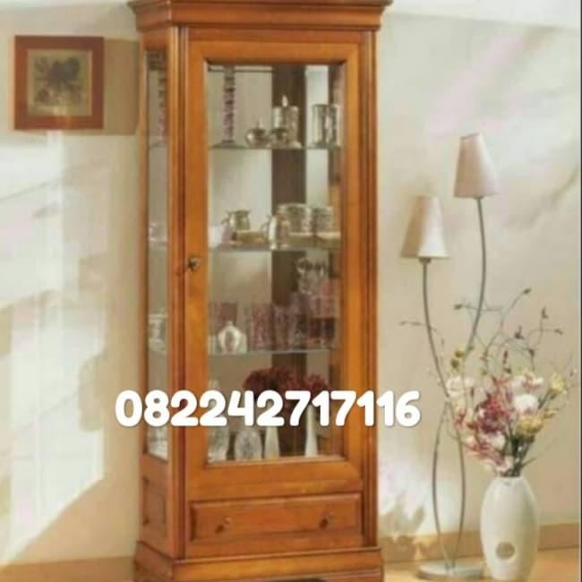 Jual Lemari Kaca Minimalis Kayu Jati Kab Jepara Kjmputra Furniture Jepara Tokopedia