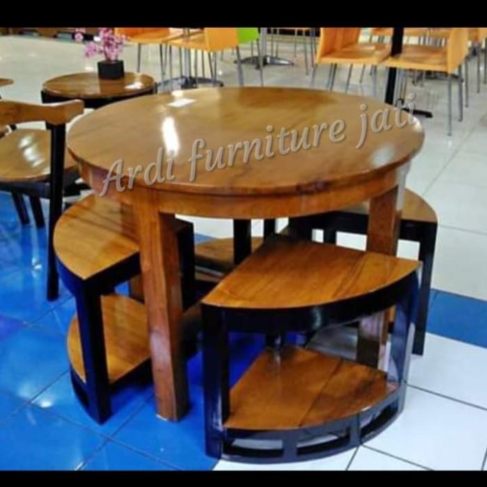Jual Meja Rumah Makan Kayu Jati Meja Makan Bundar Model 4 Kursi Simpel Kab Jepara Ardi Furniture Jati Tokopedia