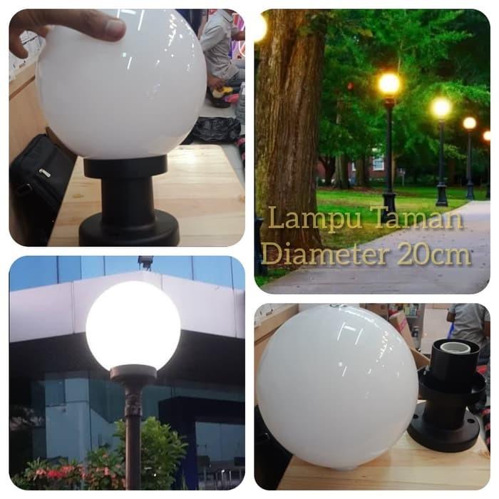 Jual Kap Lampu Taman Bulat Putih Susu Fitting E27 Diameter 20cm Jakarta Timur Store A Office Tokopedia