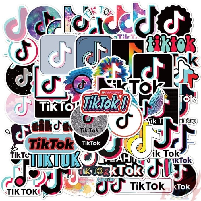 Jual 50pcs Sticker Tik Tok Youtube Stiker Tiktok Logo Waterproof Tumblr Kab Bandung Plataoplomo Tokopedia