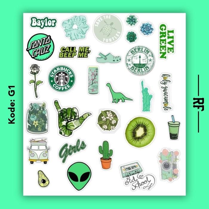 Jual Stiker Tumblr Aesthetic Premium Isi 25 40 Green Kota Medan Rf Street Tokopedia