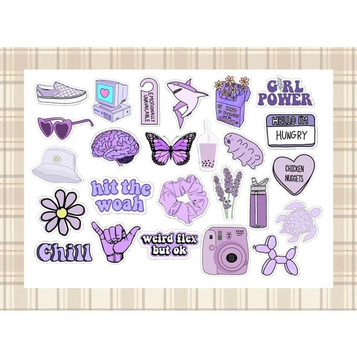 Jual Purple Aesthetic Sticker 25 Pcs Kota Surabaya Stickbombid Tokopedia
