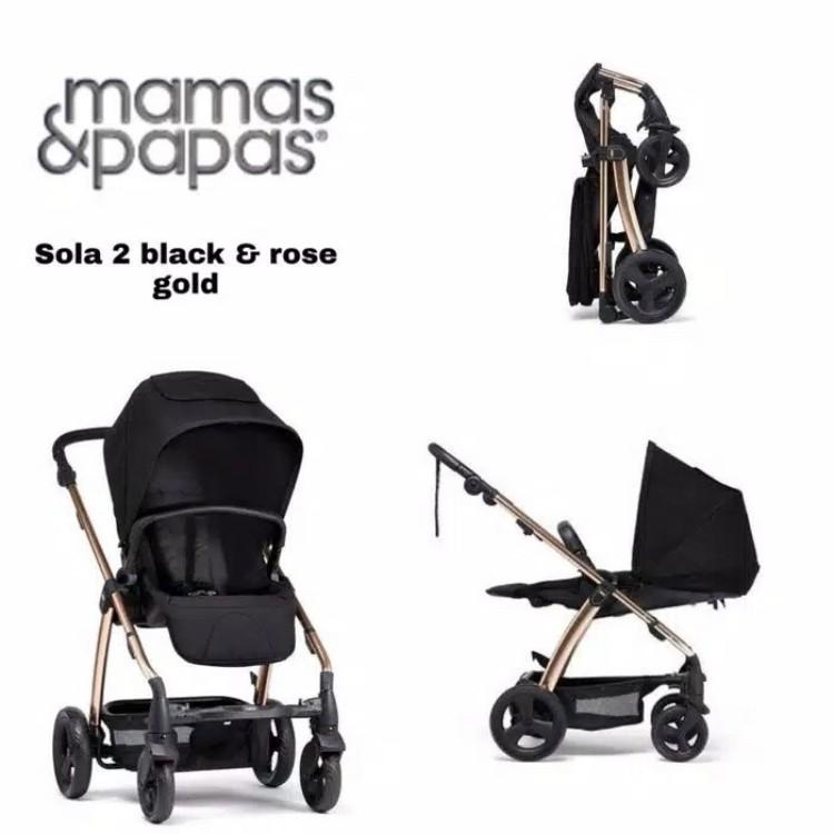 gambar Stroller Mamas & Papas Sola 2 Black & Rose Gold