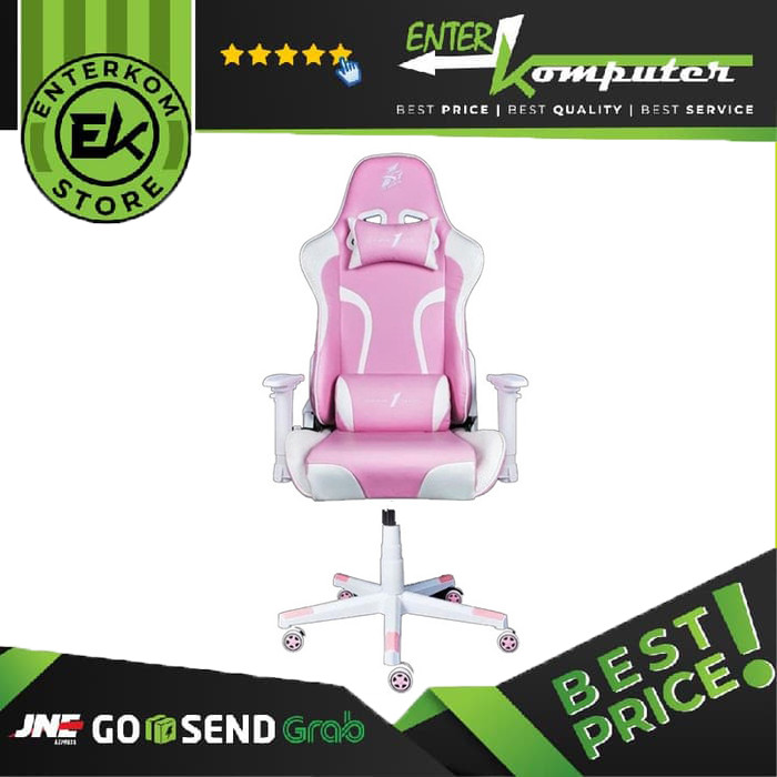 1STPLAYER GAMING CHAIR FD-GC1 - PINK WHITE - All Steel Skeleton - High Density Integrated Molded Foam