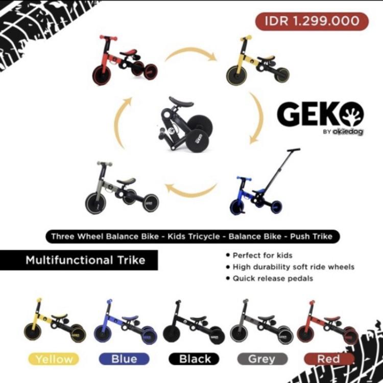 gambar Sepeda Anak Roda Tiga – 5 In 1 Balance Bike With Stick By Okiedog