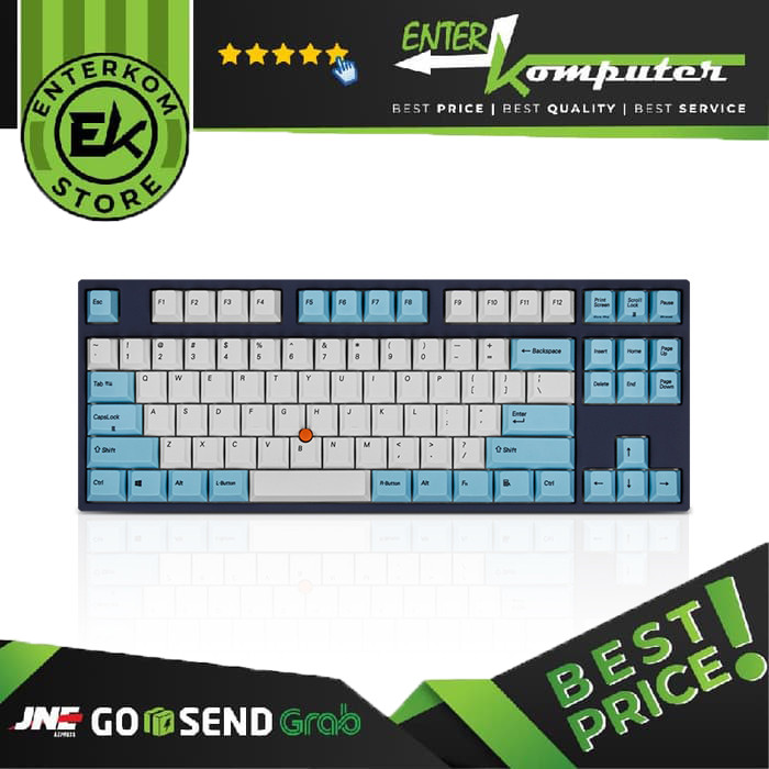 Leopold FC750RSPS/EWBPS - 75%, Cherry MX Silent Red Switch, PS Stick Point White/Sky Blue, PBT Double-Shot, No LED
