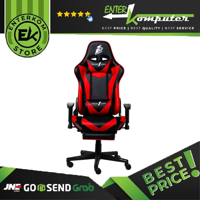 1STPLAYER GAMING CHAIR FK3 - BLACK RED - LUMBAR MASSAGE - With Foot Rest - Comfort - All Steel Skeleton - High Density Molded Foam